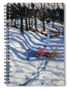 Two Boys Falling Off A Sledge Spiral Notebook