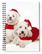 Two Cute Dogs In Santa Outfits Spiral Notebook