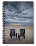 Two Deck Chairs At Sunrise On The Beach Spiral Notebook