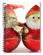 Two Father Christmas Decorations Spiral Notebook