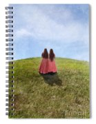 Two Girls In Vintage Dresses Walking Up Grassy Hill Spiral Notebook