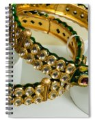 Two Green And Gold Bangles On Top Of Each Other Spiral Notebook
