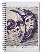Two Masks On Sheet Music Spiral Notebook