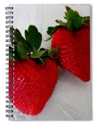 Two Strawberries On A Glass Plate Spiral Notebook