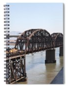 Union Pacific Locomotive Trains Riding Atop The Old Benicia-martinez Train Bridge . 5d18849 Spiral Notebook