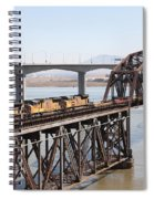 Union Pacific Locomotive Trains Riding Atop The Old Benicia-martinez Train Bridge . 5d18850 Spiral Notebook