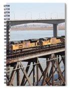 Union Pacific Locomotive Trains Riding Atop The Old Benicia-martinez Train Bridge . 5d18851 Spiral Notebook