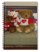 Valentine Teddy Bears In A Row  Spiral Notebook