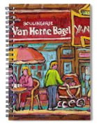 Van Horne Bagel Next To Yangste Restaurant Montreal Streetscene Spiral Notebook