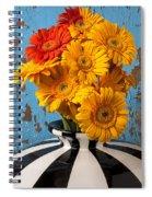 Vase With Gerbera Daisies  Spiral Notebook