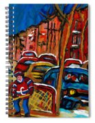 Verdun Rowhouses With Hockey - Paintings Of Verdun Montreal Street Scenes In Winter Spiral Notebook