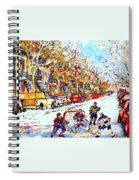 Verdun Street Hockey Game Goalie Makes The Save Classic Montreal Winter Scene Spiral Notebook