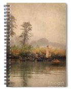 Victorian Lady By Row Boat Spiral Notebook