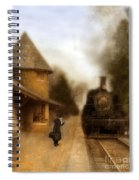 Victorian Woman At Train Station Spiral Notebook