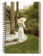 Victorian Woman In Garden With Parasol Spiral Notebook
