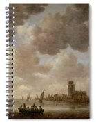 View Of Dordrecht Downstream From The Grote Kerk Spiral Notebook