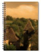 Village Of Castelnau Bretenoux In Sepia Spiral Notebook