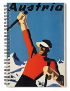 Vintage Austrian Skiing Travel Poster Spiral Notebook