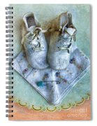 Vintage Baby Shoes And Diaper Pin On Handkercheif Spiral Notebook