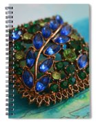 Vintage Blue And Green Rhinestone Brooch On Watercolor Spiral Notebook