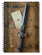 Vintage Dagger On Wood Table With Playing Card Spiral Notebook