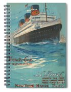 Vintage French Line Travel Poster Spiral Notebook