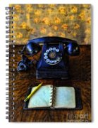 Vintage Telephone And Notepad Spiral Notebook
