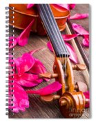 Violin And Roses Spiral Notebook
