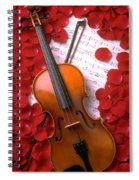 Violin On Sheet Music With Rose Petals Spiral Notebook
