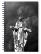Virgin Mary And The Thunderstorm Bw Spiral Notebook
