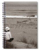Watching The Ocean In Black And White Spiral Notebook