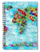 Watercolor Splashes World Map Spiral Notebook