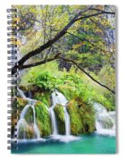 Waterfall In The Plitvice Lakes National Park Spiral Notebook