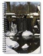 Waterwheel And Stream In Winter Spiral Notebook