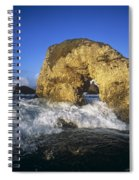 Wave Splashing Against Natural Arch Spiral Notebook