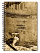 Weathered Wooden Bucket In Sepia Spiral Notebook