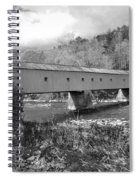 West Cornwall Connecticut Covered Bridge Black And White Spiral Notebook