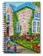 Westmount Birthday Party-montreal Urban Scene-little Girls Playing Spiral Notebook