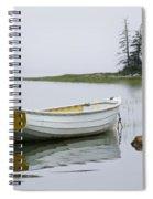 White Boat On A Misty Morning Spiral Notebook