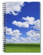 White Clouds In The Sky And Green Meadow Spiral Notebook