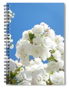 White Floral Blossoms Art Prints Spring Tree Blue Sky Spiral Notebook