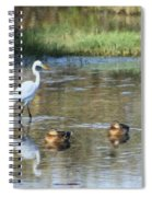 White Heron And Baby Ducks Spiral Notebook