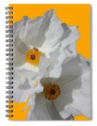 White Poppies On Yellow Spiral Notebook