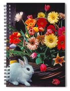 White Rabbit By Basket Of Flowers Spiral Notebook