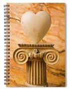 White Stone Heart On Pedestal Spiral Notebook