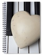 White Stone Heart On Piano Keys Spiral Notebook