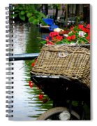 Wicker Bike Basket With Flowers Spiral Notebook