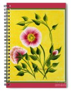 Wild Roses On Yellow With Borders Spiral Notebook