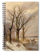 Winter Landscape With Faggot Gatherers Conversing On A Frozen Lake Spiral Notebook