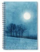 Winter Moon Over Farm Field Spiral Notebook